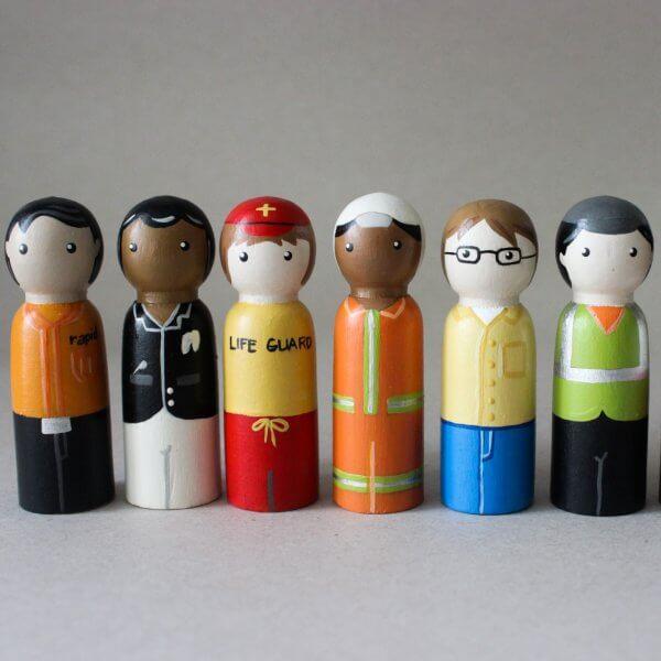 Community Helpers Peg Dolls by Malaysia Toys