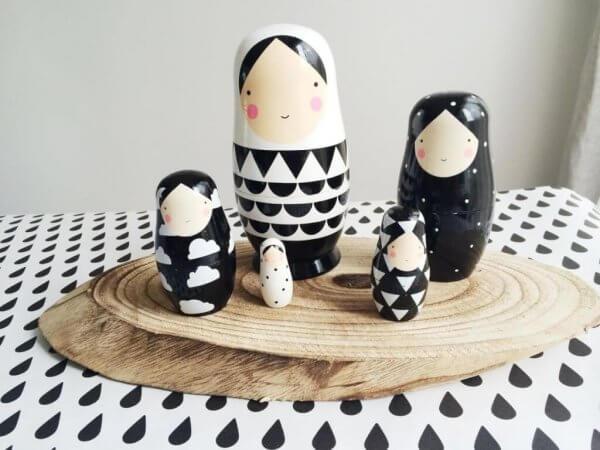 Black & White Matryoshka Dolls by Malaysia Toys