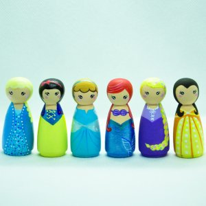 Princess Peg Dolls by Malaysia Toys - Elsa (Frozen), Snow White, Cinderella, Ariel (The Little Mermaid), Rapunzel (Tangled), Belle (Beauty and the Beast)