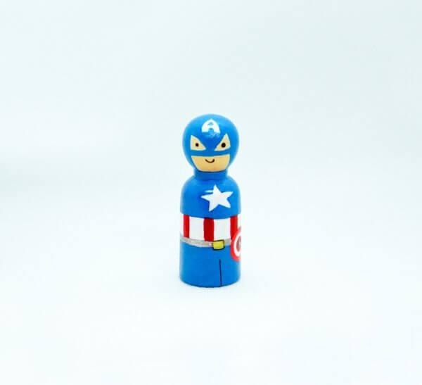 Superheroes Peg Dolls by Malaysia Toys - Captain America