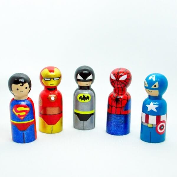 Superheroes Peg Dolls by Malaysia Toys