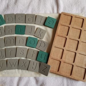 CVC Tray Board and Wooden Alphabet Tiles by Malaysia Toys