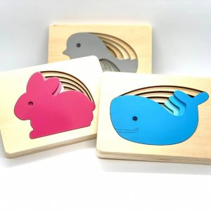 Multilayer Animal Puzzle by Malaysia Toys - Whale, Rabbit and Bird