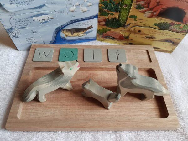 Sand Tray and Wooden Alphabet Tiles by Malaysia Toys - Wolf