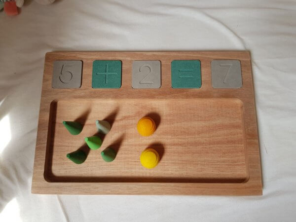 Sand Tray and Wooden Math Tiles by Malaysia Toys with Wood Open Ended Toy Manipulatives