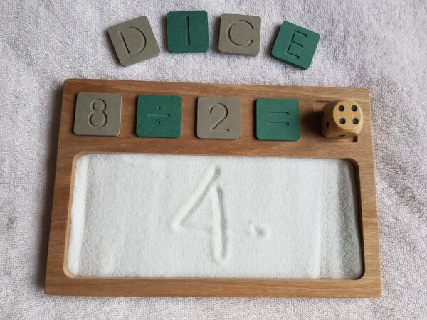Sand Tray with Wooden Alphabet and Number Tiles by Malaysia Toys