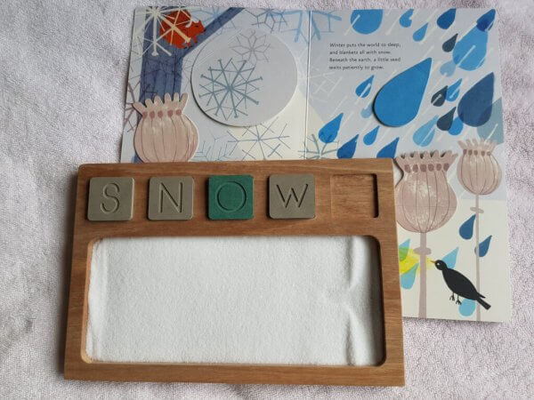 Sand Tray with Wooden Alphabet and Number Tiles by Malaysia Toys - Snow