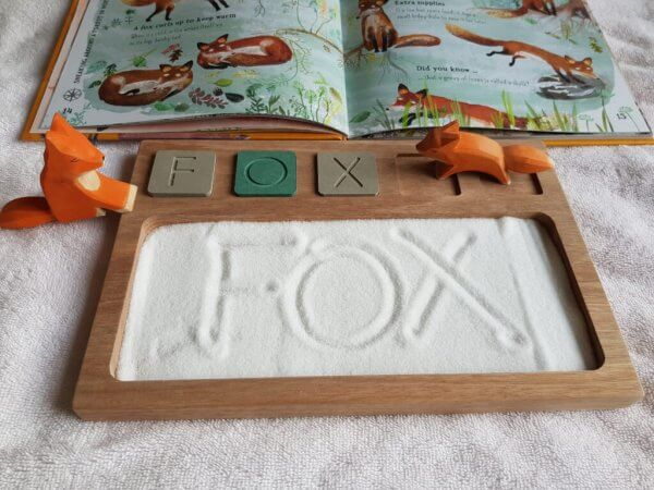 Sand Tray with Wooden Alphabet Tiles by Malaysia Toys