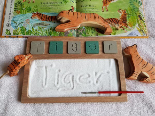 Sand Tray with Wooden Alphabet Tiles by Malaysia Toys - Tiger