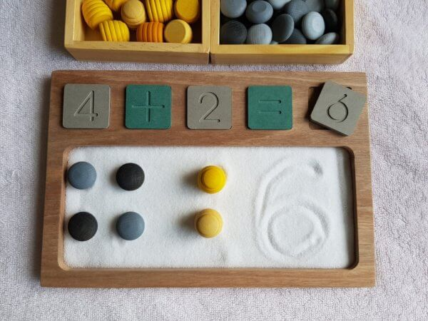 Sand Tray with Wooden Math Tiles by Malaysia Toys