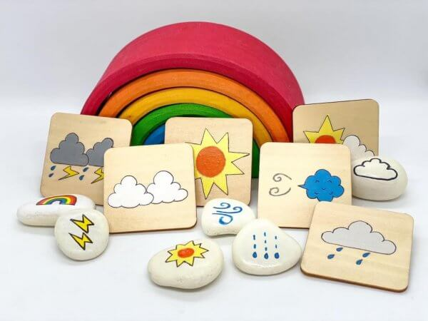 Weather Hand Painted Story Stones and Wooden Cards by Malaysia Toys