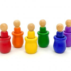 Rainbow Peg Dolls with Sorting Cups by Malaysia Toys