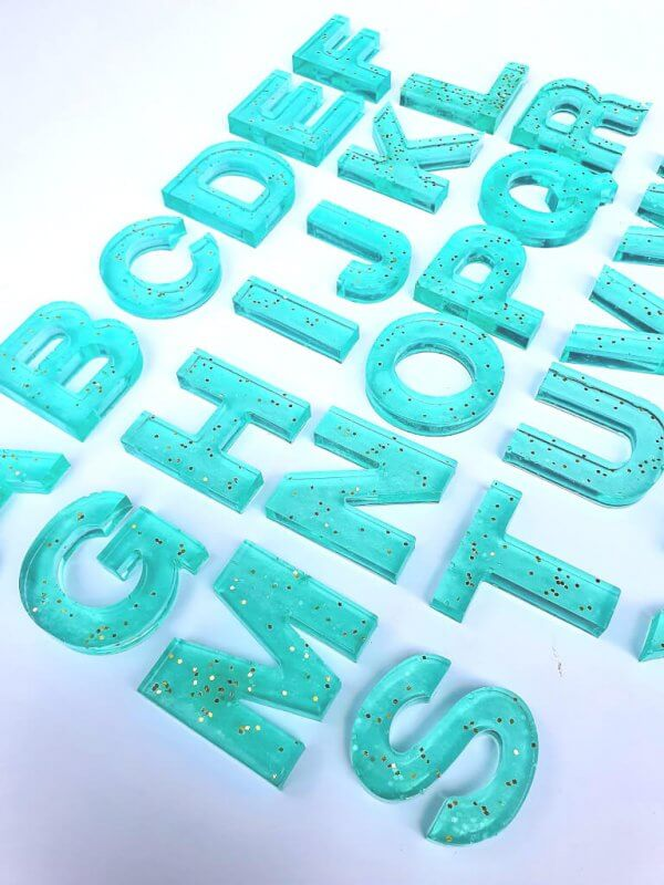 Resin Alphabets and Numbers by Malaysia Toys - Bright Turquoise