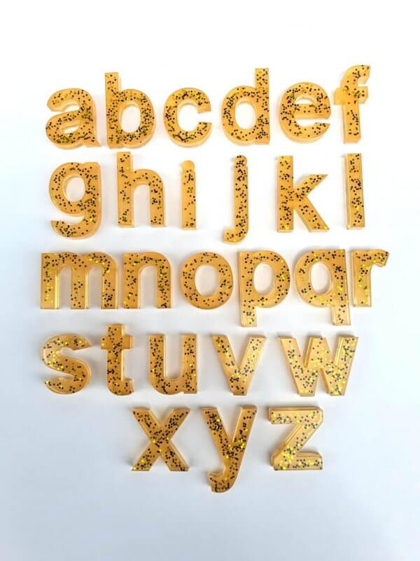 Resin Alphabets and Numbers by Malaysia Toys - Gold Glitter