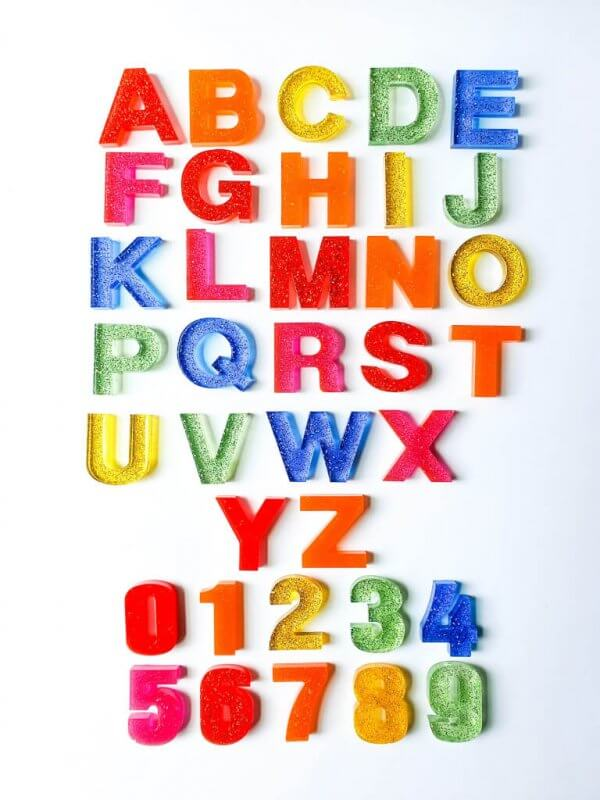 Resin Alphabets and Numbers by Malaysia Toys - Rainbow