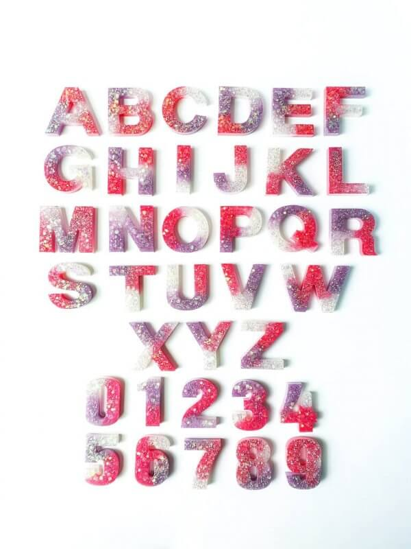 Resin Alphabets and Numbers by Malaysia Toys - Shiny Plum