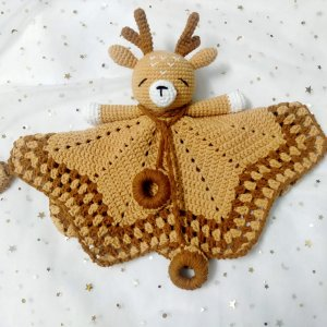 Crocheted Reindeer Baby Comforter by Malaysia Toys